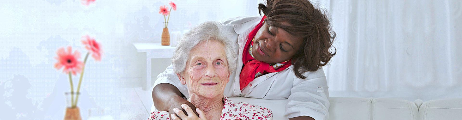 happy senior woman with caregiver on her back